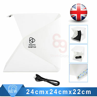 Folding Photo Studio Box Tent Cube+ Led Light +Black White Background+USB Cable