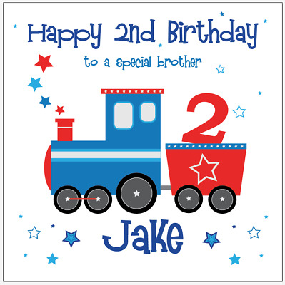 Personalised Birthday Card TRAIN Son Nephew Brother Grandson Any Age Name