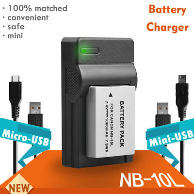 Battery USB Charger for Canon NB-10L PowerShot G16 G15 G1X SX50 SX40 HS UK Fast