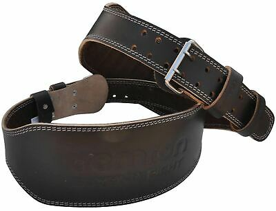 "Aamron ® 6"" Tanned Leather Weight Lifting Belt Back Support Strap Gym Training"
