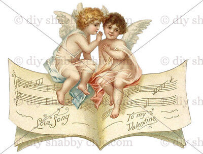 Furniture Decal Image Transfer Vintage Antique French Upcycle Love Song Angels