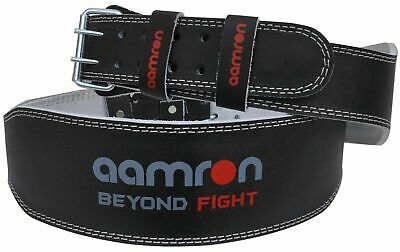 "Aamron ® 6"" Weight Lifting Leather Belt Back Support Gym Power Fitness Training"