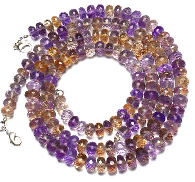 """Natural Rare Gem Ametrine 9MM Approx Faceted Rondelle Beads Necklace 250Cts. 16"""""""