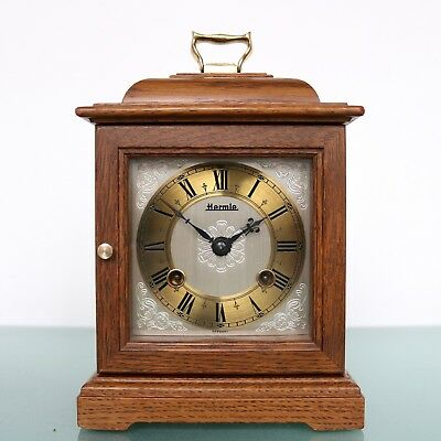 HERMLE Mantel CLOCK TOP DOUBLE Bell CLEAR CHIME Wood Vintage Germany Mid Century