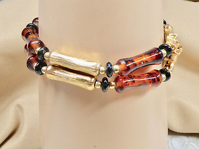 "Fashion Napier Bracelet Faux Tortoise Shell Gold Sections, 8"" Long, 29.5 gram"