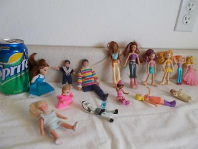 """Mixed lot of 15 small DOLLS 2-5"""" plastic rubber bend joint Mattel Groovy Girls+"""