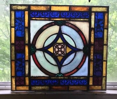 Architectual Salvage Jewel Toned Antique Stained Glass Window