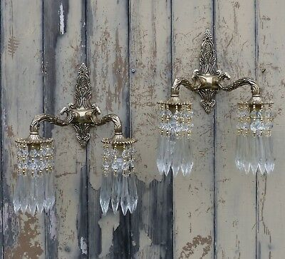 Pair Vintage Ornate Brass Wall Twin Arm Down Lights/Down Lighters Crystal Spears