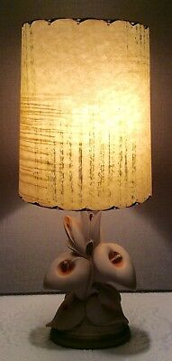 """1940's Chalkware Lamp~Pale Pink Lilies~with Vintage Shade~19"""" H~Excellent"""