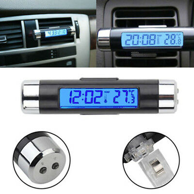 A/C Air Conditioner Vent Outlet Digital Clock Thermometer Blue LED Back Light
