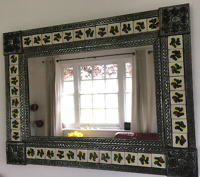 Vintage TALAVERA TILED PUNCHED TIN MEXICIAN Wall Mirror Folk Art Interior Design