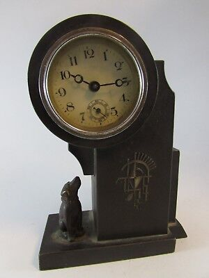 Vintage RARE bronze Antique Art Deco DOG heavy table CLOCK Nice Details working