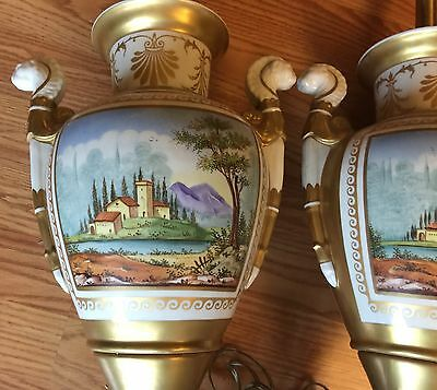 Pair of FRENCH Empire Hand Painted Porcelain Gilded LAMP BASE Flower & Landscape