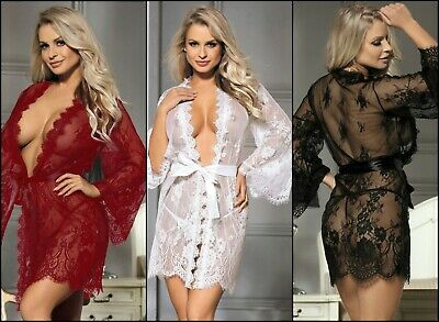 Baol Womens Lace Transparent Robe Dressing Gown Kimono Lingerie Size 8-22 Uk