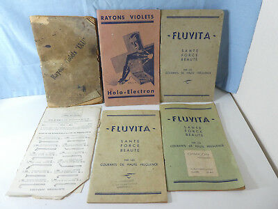 5 Vintage Violet Ray Wand Instruction Booklets Holo Electron Fluvita Ixu