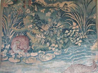 ANTIQUE FRENCH AUBUSSON TAPESTRY PANEL FISH RIVER BIRD VERDURE 18th CENTURY