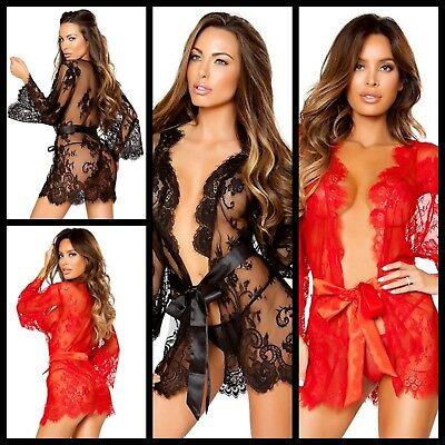 New Sexy Luxury Womens Lace Robe Dressing Gown Kimono Lingerie Size Xl/14 Uk