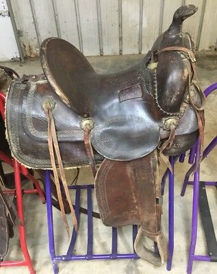 "15"" Antique Collectors High back Saddle Marked 478"