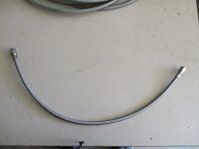 "3/8"" x 30"" teflon lined ss braid hose assy with 3/8 female JIC swivel both ends."