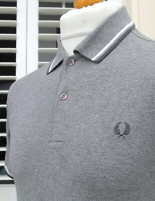 Fred Perry M1200 Grey Twin Tipped Pique Polo - S/M - Ska Mod Scooter Casuals
