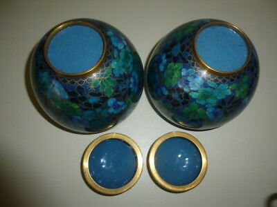 Pair of Lidded Chinese Cloisonne Ginger Jars