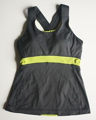 51d262778db0 LULULEMON SWIFT TANK 4 Gray MESH INSERT Wide Strap Bra Top Running Yoga  Athletic