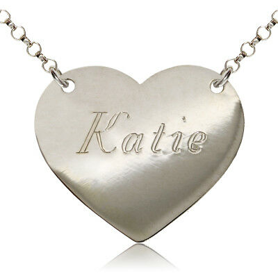 bbb70ca9d24a7 STERLING SILVER NAME Chain Heart Personalised Necklace Dog Tag Free  Engraving
