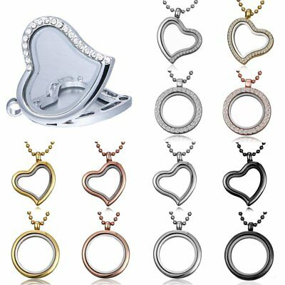 Crystal Living Memory Floating Charm Glass Round Heart Locket Pendant Necklace
