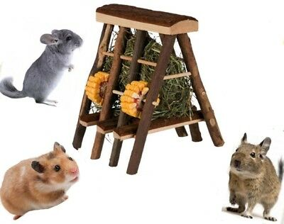 Natural Wooden Hay Rack Manager Free Standing with Hay Treats Rabbit Guinea Pig
