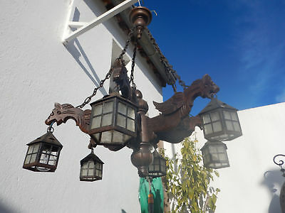 Antique French wood chandelier 6 arms gothic