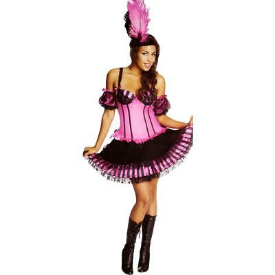 Secret Wishes 7240 Womens Can Can Girl Pink Halloween Party Costume Set L BHFO
