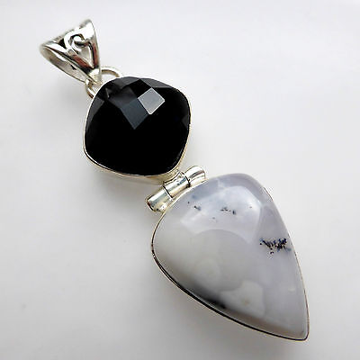 Dendritic agate pendant black onyx solid sterling silver 925 dendritic agate pendant black onyx solid sterling silver 925 handmade jewellery aloadofball Images