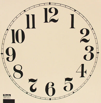 New 11 to 12 Inch Ivory Paper Clock Dial - Choose Arabic or Roman Numbers!