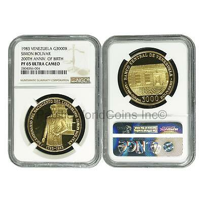 Venezuela 1983 Simon Bolivar 200th Anniv. Of Birth 3,000 Bolivares Gold NGC PF65