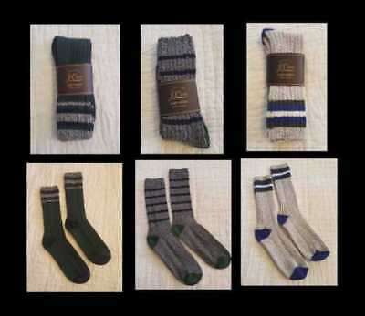 New Men's J Crew Camp Socks In Oxford Cobalt / Charcoal Blue  - Made In Usa