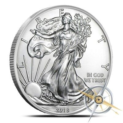 2018 $1 American Silver Eagle Coin 1 Oz .999 Fine Gem BU - Fresh From Mint Rolls
