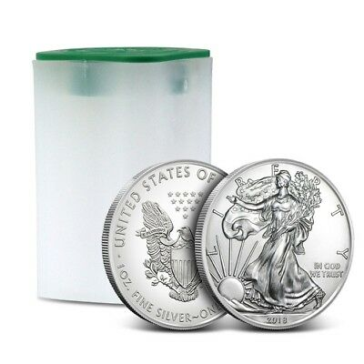 2018 American 1 Oz Silver Eagle - Lot of 20 BU Coins in U.S. Mint Tube / Roll