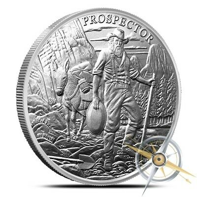 Provident Metals 1 Troy Oz .999 Fine Prospector Silver Round - Brand New!