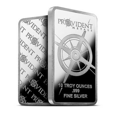 Provident Metals 10 Troy Oz .999 Fine Silver Bar - Brand New & Sealed In Plastic