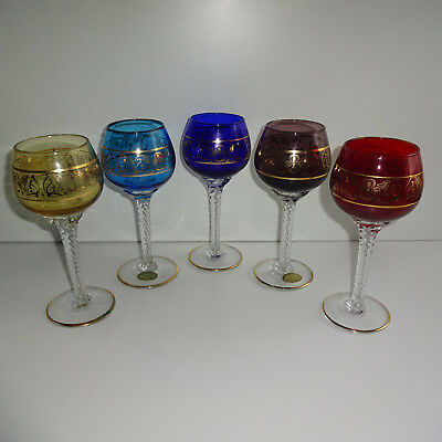 Wine Glass Rummer 5 Stck Colourful with Golden Decoration Decor