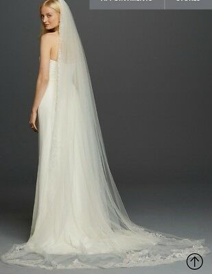 NWT David's Bridal Veil White 1 Tier Embroidered Cathedral Davids $299 WPD17939
