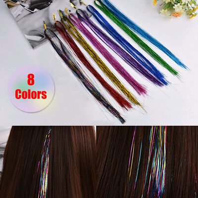 Hair Tinsel Sparkle Holographic Color Glitter Extensions Highlights Party Useful