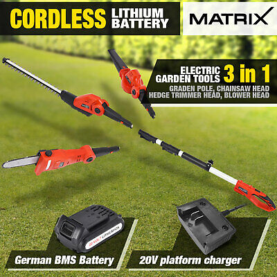 Matrix 20V Cordless Pole Hedge Trimmer Chainsaw Blower Garden Tool Kit Combo