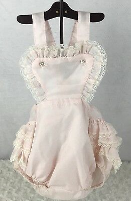 Vintage Little Craft Pink Ruffle Lace Romper Bib Baby Dress Colthes Outfit