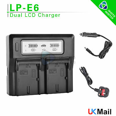 LCD Dual USB Charger For Canon LP-E6 LPE6 EOS 5D Mark II 7D 6D 60D 60Da UK