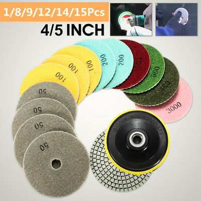 4/5'' Diamond Polishing Pads Wet/Dry Kit For Granite Marble Stone Concrete US