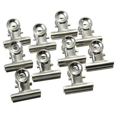 10xMini Bulldog Letter Clips Stainless Steel Silver Metal Paper BinderClip.US