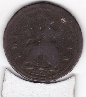 1720   King  George  Half   Penny  (1/2d)  Copper  Coin