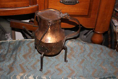 Antique Middle Eastern Ararabic Arts & Crafts Copper Footed Water Pitcher W/Hand