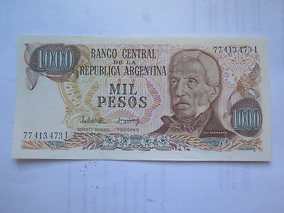 BANCO CENTRAL ARGENTINA 1000 PESOS BANK NOTE EXCELLENT UNCIRCULATED COND c1960s